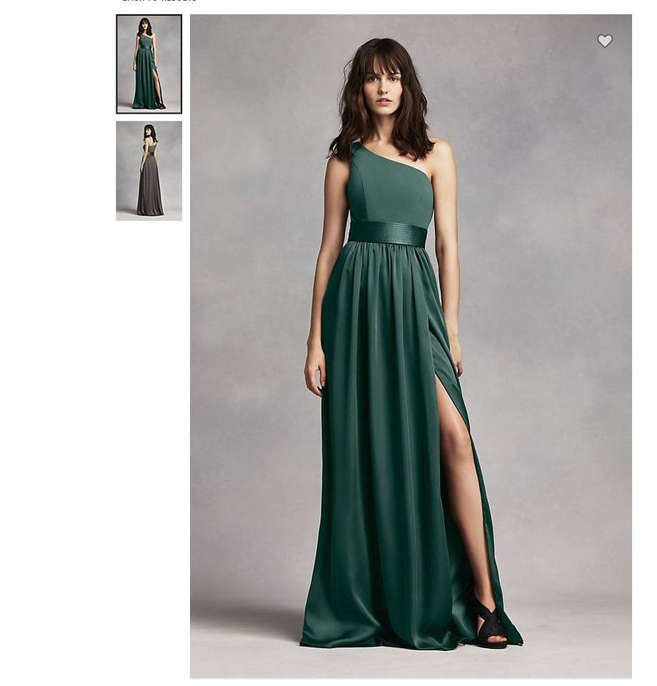a4bf5fad617 Vera Wang Forest Long Soft Matte Charmeuse Satin Sash At Waist One Shoulder  Vw360215 Formal Bridesmaid Mob Dress