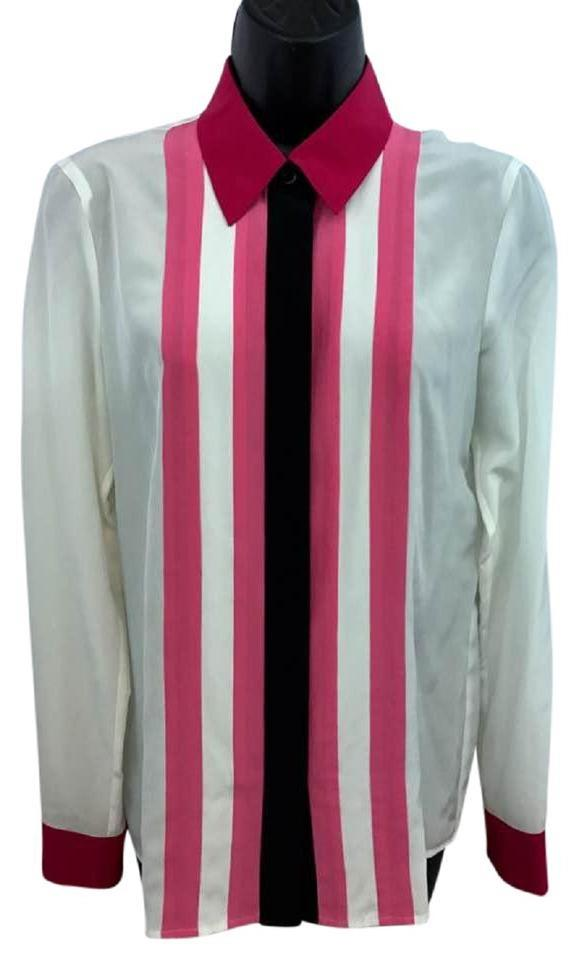b16c4c1aa6538d Escada White Pink and Black Trim Silk Blouse 34 Button-down Top Size ...