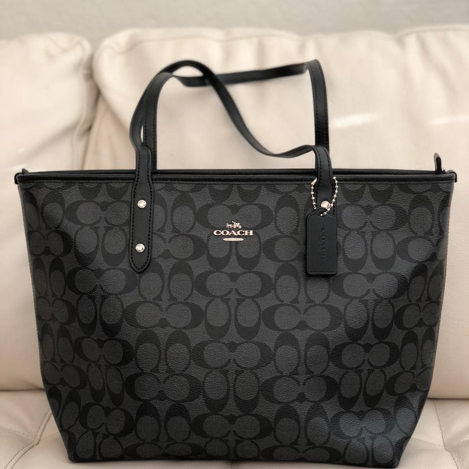 77637ab5265d Coach City Zip In Signature F58292   Wallet Set Smoke Black Canvas Tote