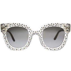 b48d16e8c18 Gucci GUCCI GG0116S Silver Star Crystal Clear Square Cat Eye Frames NEW!