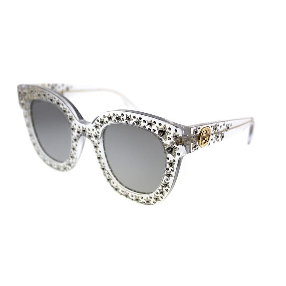 04644bd88201c Gucci GUCCI GG0116S Silver Star Crystal Clear Square Cat Eye Frames NEW!  Image 5. 123456