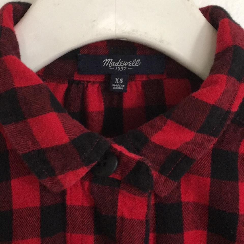 301ebe0598a Madewell Red Black Flannel Latitude Shirtdress In Buffalo Check ...
