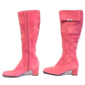 Saint Laurent Vintage Ysl Yves Ysl Suede Knee High Pink Boots