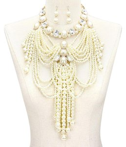 OTHER Multi Strand Fringed Pearl Empire Necklace Set