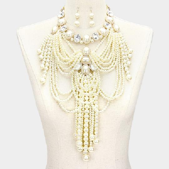 OTHER Multi Strand Fringed Pearl Empire Necklace Set Image 2