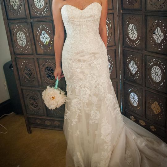 Maggie Sottero Ivory All Over Embroidered Lace Over Delustered Satin Ascher Fit & Flare Bridal Gown Feminine Wedding Dress Size 6 (S) Image 4