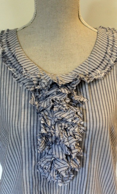 J.Crew Summer Top Chambray and White Stripe Image 2