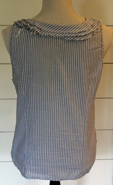 J.Crew Summer Top Chambray and White Stripe Image 3