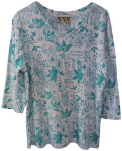 Palm Grove Top White with green flower pattern