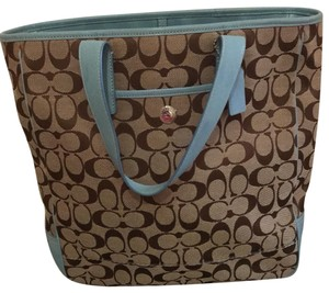 Coach Tote in brown/ light blue