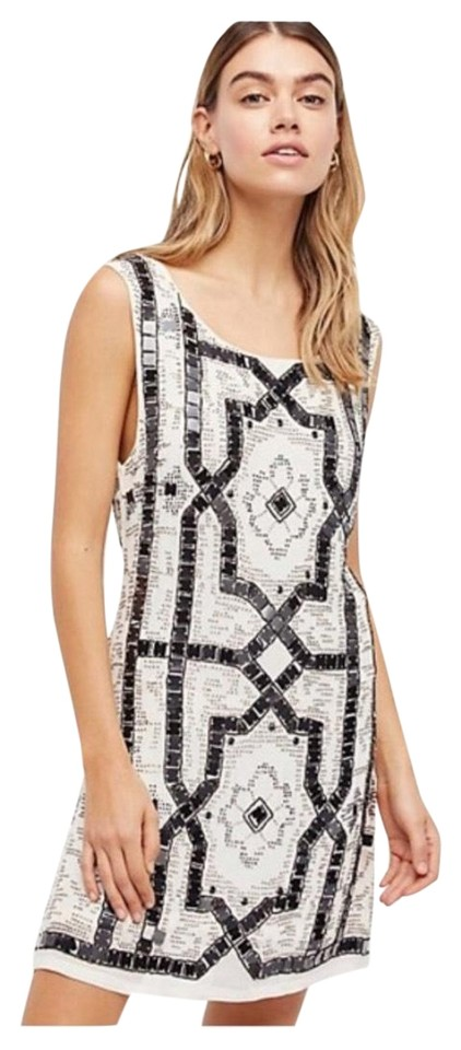 Free People Black White Sequin + Beaded Short Cocktail Dress Size 4 ...