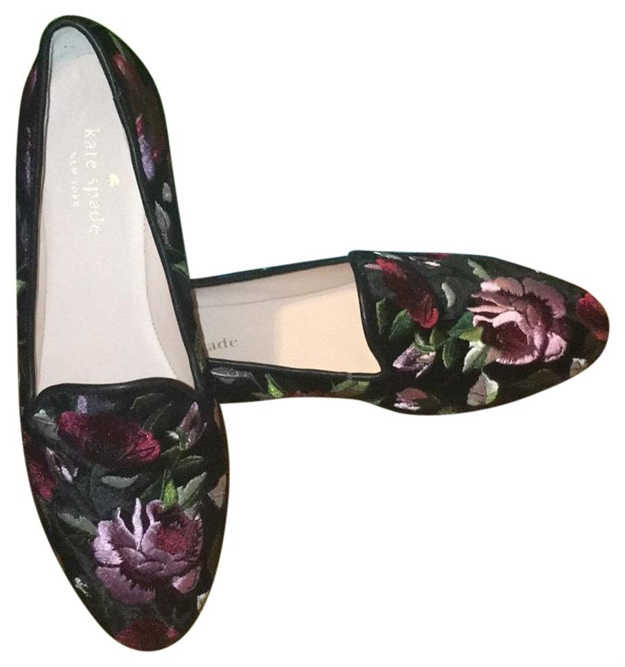 4439a0cf644b Kate Spade Black Velvet Floral Swinton Flats Size US 7 Regular (M