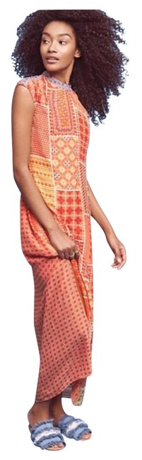Item - Orange Red Indian-inspired Patchwork Long Casual Maxi Dress Size 6 (S)