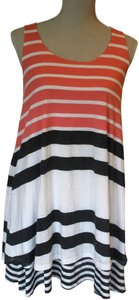Anthropologie short dress pink, grey and white stripe on Tradesy