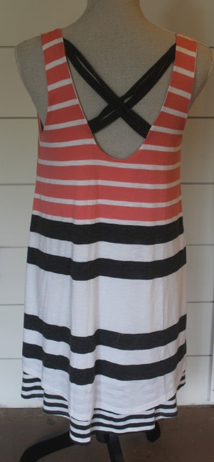 Anthropologie short dress pink, grey and white stripe on Tradesy Image 2