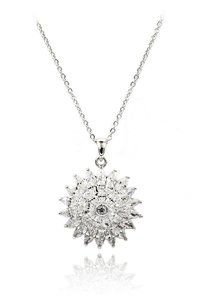 Ocean Fashion Sparkling sunflower crystal silver necklace