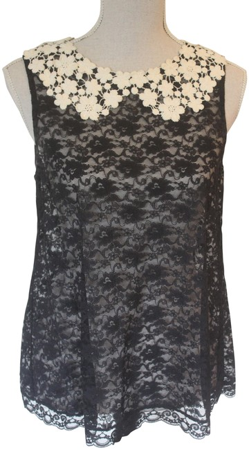 Item - Black Lace with Cream Lace Collar Tank Top/Cami Size 6 (S)