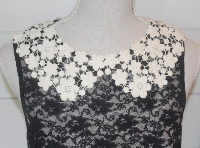 Eloise Top Black Lace with Cream Lace Collar Image 1
