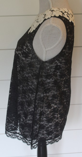 Eloise Top Black Lace with Cream Lace Collar Image 2