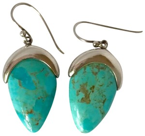 Private Collection GORGEOUS! Genuine Turquoise Drop Dangle Earrings in Sterling Silver