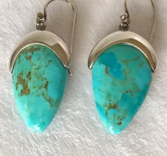 Private Collection GORGEOUS! Genuine Turquoise Drop Dangle Earrings in Sterling Silver Image 1