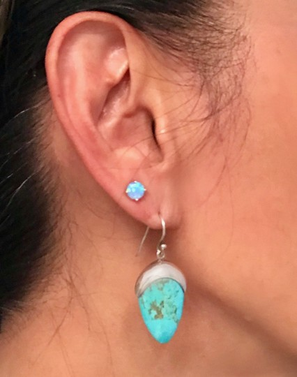 Private Collection GORGEOUS! Genuine Turquoise Drop Dangle Earrings in Sterling Silver Image 3