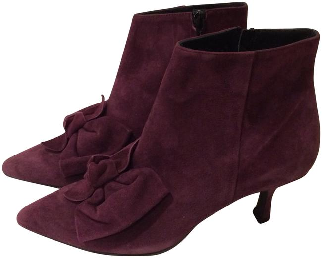 Item - Burgundy New Bow Front Kitten Heel Suede Ankle Boots/Booties Size EU 37 (Approx. US 7) Regular (M, B)