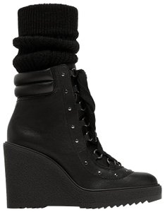 Zara Combat Lace Up Studded Wedge Leather black Boots