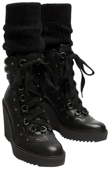 Zara Combat Lace Up Studded Wedge Leather black Boots Image 1