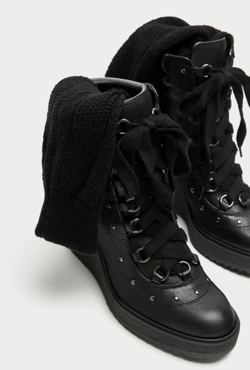 Zara Combat Lace Up Studded Wedge Leather black Boots Image 2
