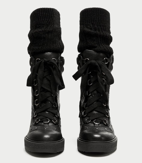 Zara Combat Lace Up Studded Wedge Leather black Boots Image 4