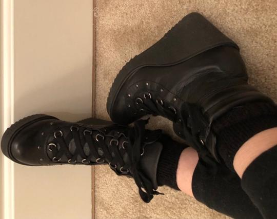 Zara Combat Lace Up Studded Wedge Leather black Boots Image 5