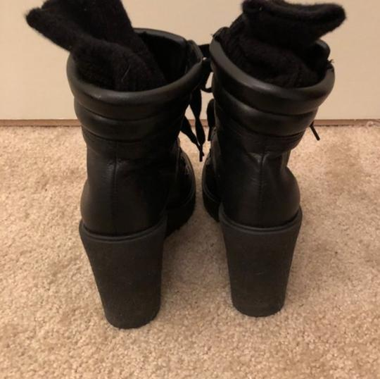 Zara Combat Lace Up Studded Wedge Leather black Boots Image 7