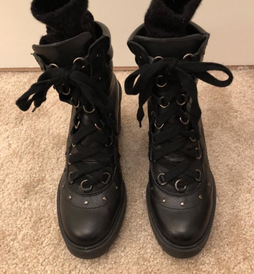5d8dcf093dd Zara Black Up Leather Wedge Stud Combat Boots/Booties Size US 6.5 Regular  (M, B)