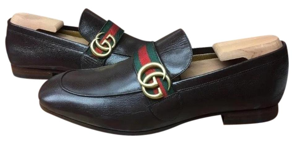 fcbe029e6ed Gucci Sold Out Current Brown Leather Gg Logo Web Loafer Dress Casual  8.5g Us Formal Shoes