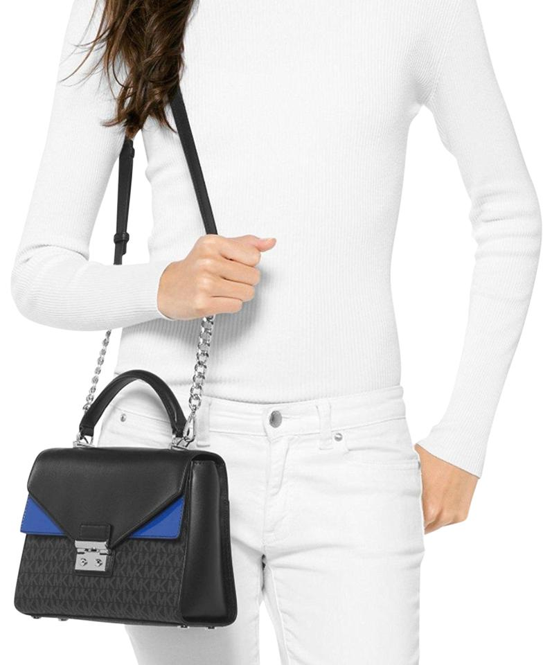 3f42f2e3828d MICHAEL Michael Kors Double Flap Sloan Medium Top Handle Black/Electric  Blue Leather /Signature Coated Twill Satchel