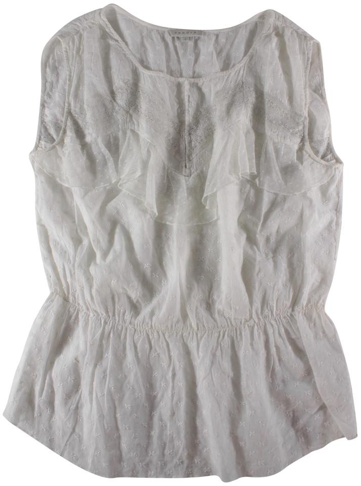 2f542ff74e8ced Sandro White Sleeveless Embroidered Lace Blouse Size 6 (S) - Tradesy
