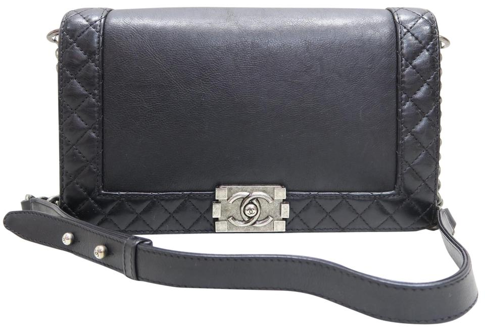 2ffabb79eb01 Chanel Classic Flap Boy Reverso Medium Black Calfskin Shoulder Bag ...