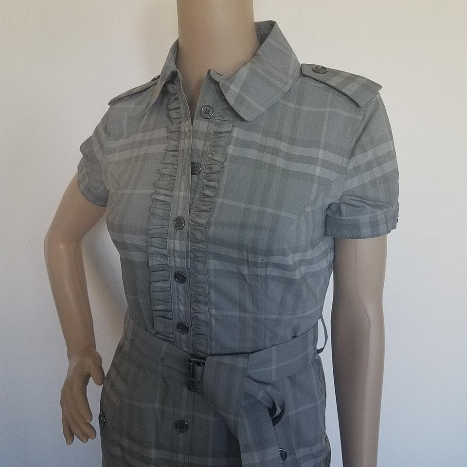 97d32310394a9c Burberry Grey White Nova Check Plaid Belted Mini Mid-length Short ...