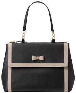 Kate Spade Bow Color-blocking Leather Satchel in Black/Mousse Frosting