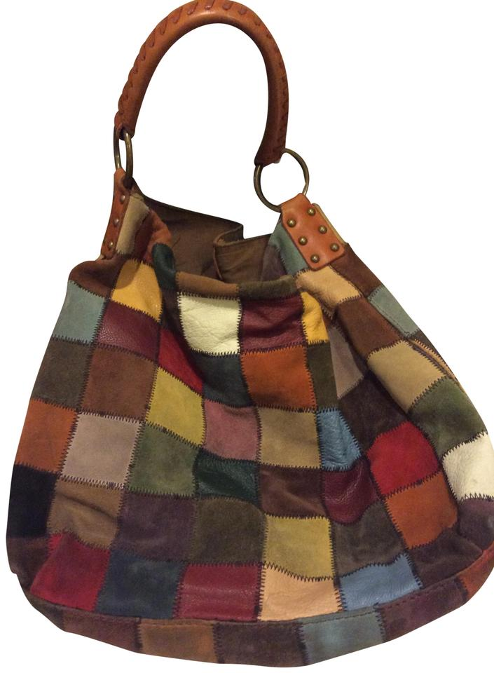 b948238583 Lucky Brand Vintage Inspired Patchwork Brown Orange Leather and ...