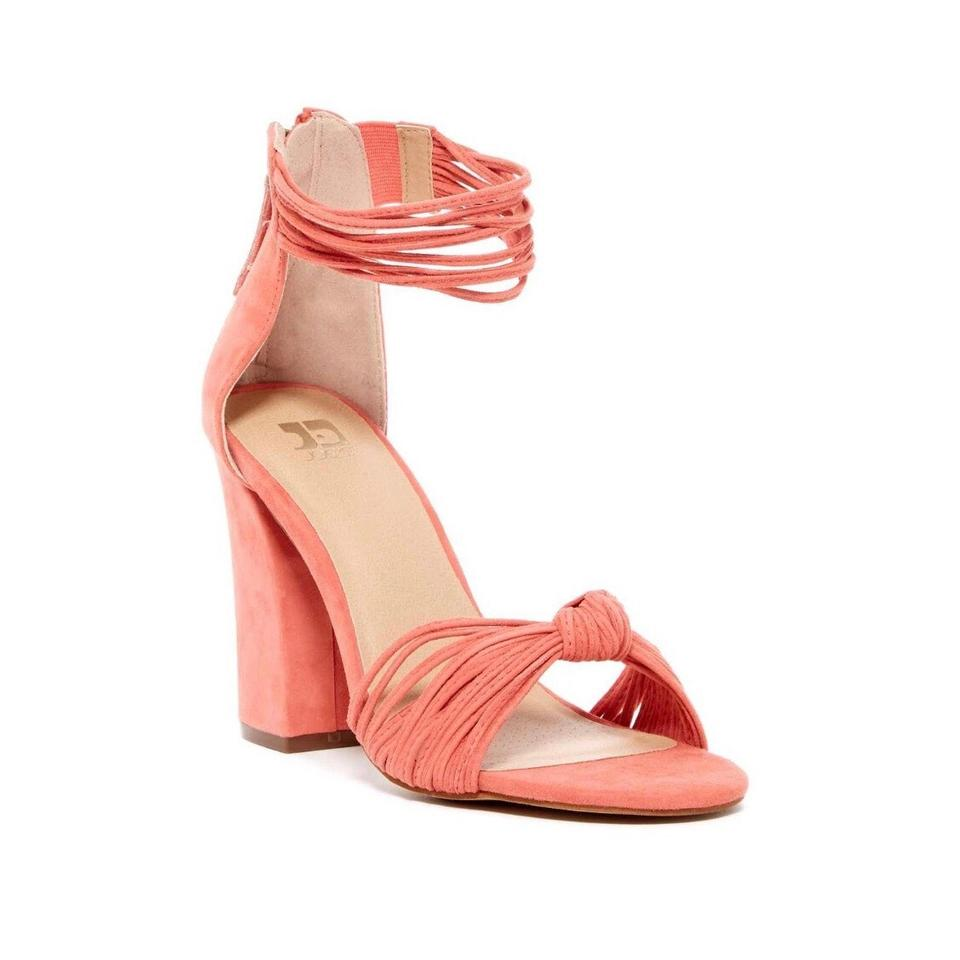 JOE S Jeans Pink Salmon Knotted Block Heel Ankle Strap Sandals Size ...