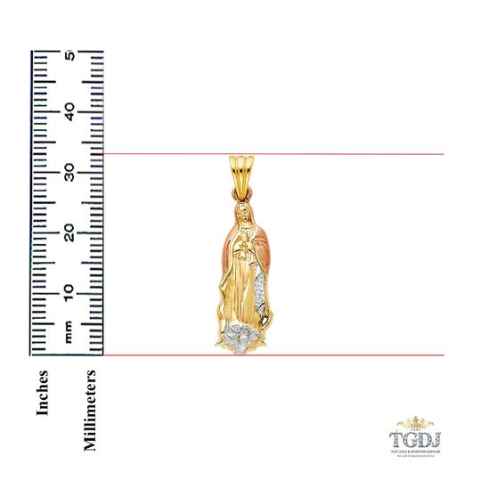 Top Gold & Diamond Jewelry 14K Yellow White Rose Gold CZ Religious Guadalupe Pendant Image 1
