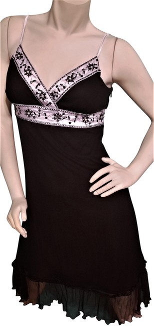 Item - Black White Silk Fit and Flare Short Cocktail Dress Size 12 (L)