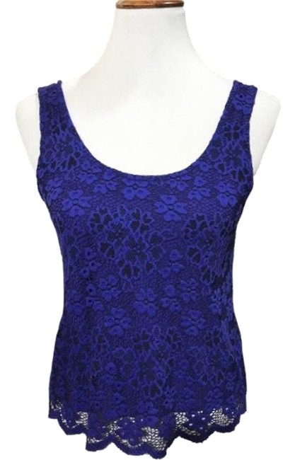 Item - Blue Black Floral Shell Tank Top/Cami Size 4 (S)