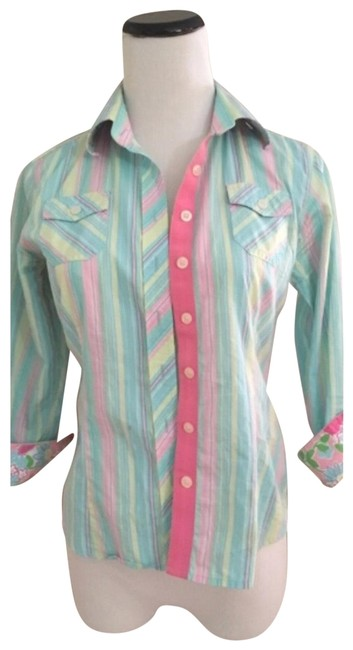 Item - Blue Pink Striped Floral 3/4 Sleeve Button-down Top Size 2 (XS)