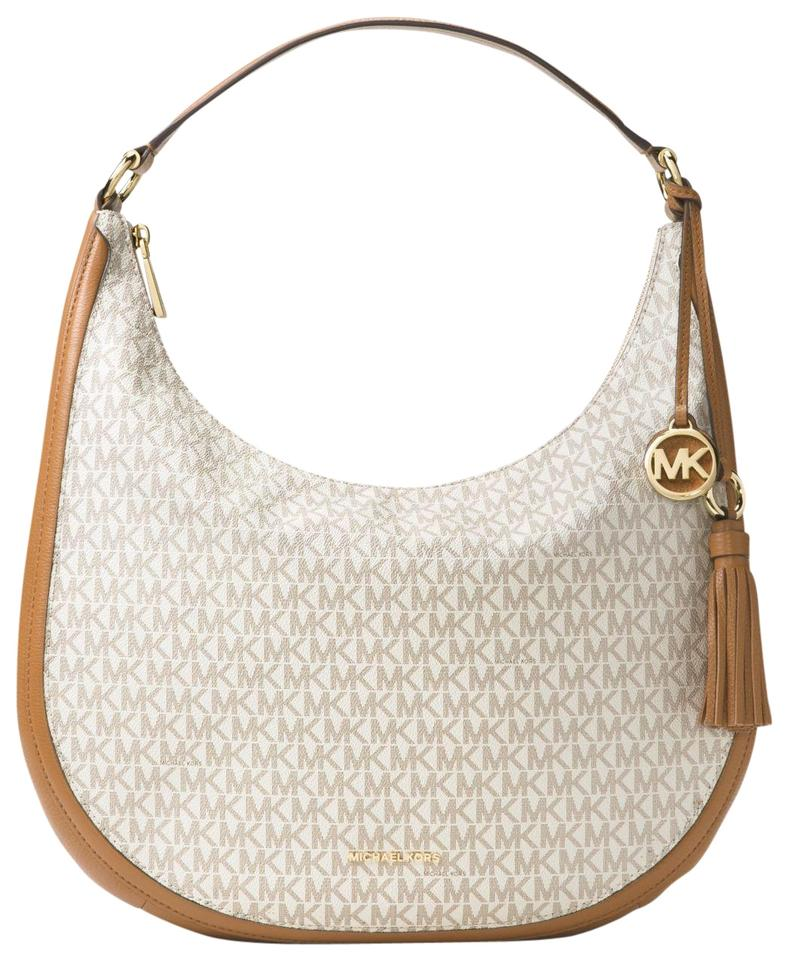 eac08162d35c Michael Kors Hobo Lydia Large Signature Monogram Vanilla Pvc/Leather  Shoulder Bag