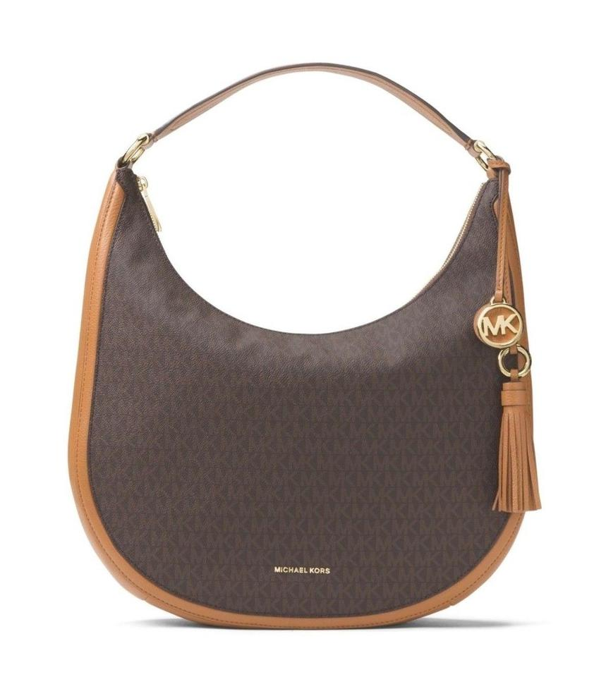 a5dfd4e0e6ee Michael Kors Lydia Large Hobo Signature Monogram Brown Pvc Leather Shoulder  Bag