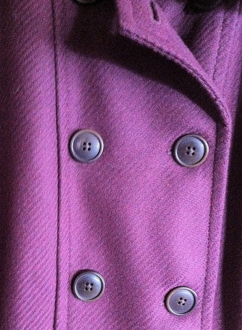 Gap Faux Fur Quilted Tall Peacoat Wool Plum Jacket