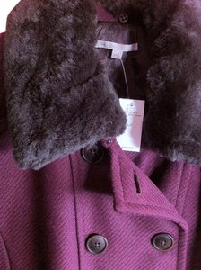 Gap Faux Fur Quilted Tall Peacoat Plum Jacket